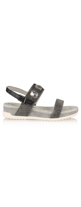 Tamaris  Imit Leather Black Glam Sandal Black