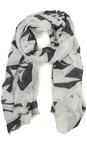 Sandwich Clothing Almost Black Abstract Leaf Print Scarf