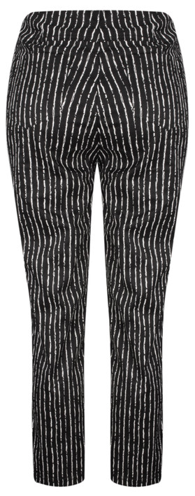 Robell Trousers Bella 09 Paintstripe 7/8 Cropped Trouser Black
