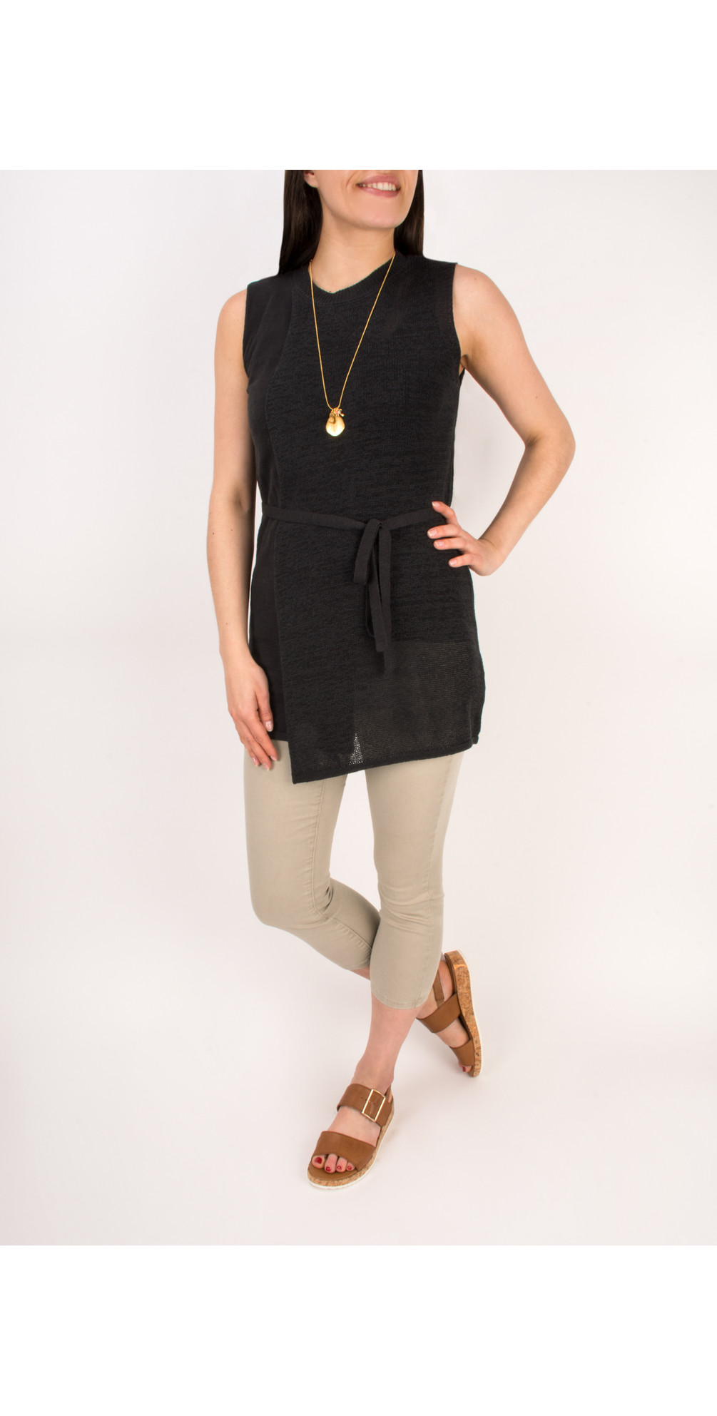 Woven Sleeveless Top With Waist Tie main image