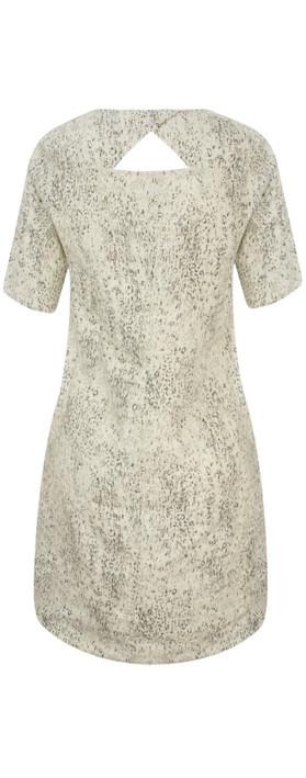 Sandwich Clothing Animal Print Linen Dress Faded Sand