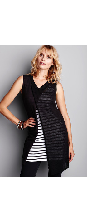 Sandwich Clothing Woven Sleeveless Top With Waist Tie Almost Black