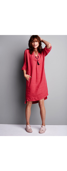 Sandwich Clothing Linen Tunic Dress Summer Rose