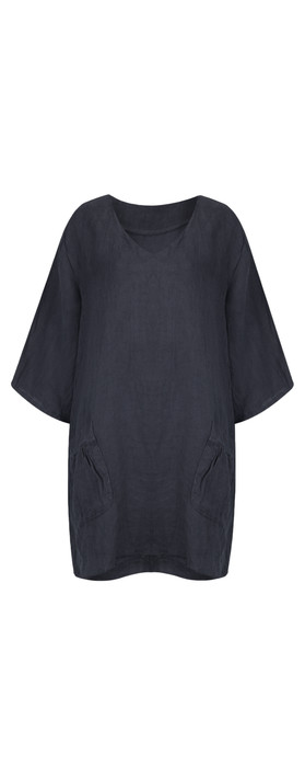 TOC  Dilys Linen Stripe Tunic Dress Navy