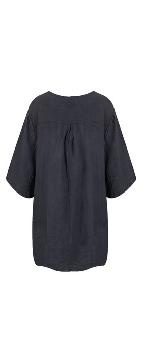 TOC  Dilys Linen Stripe Tunic Dress Navy