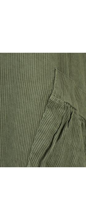 TOC  Dilys Linen Stripe Tunic Dress Khaki