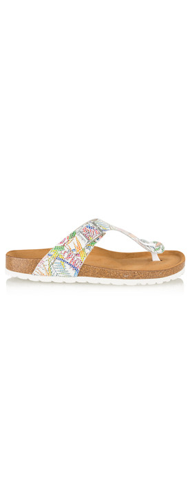 Tamaris  Birki Floral Toe Post Sandal White/Multi