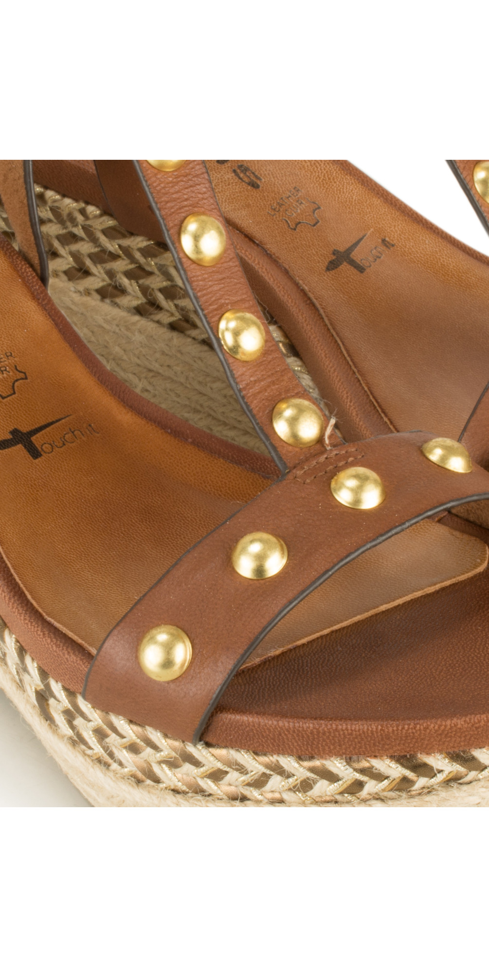 Leather High Wedge Sandal with Studs main image