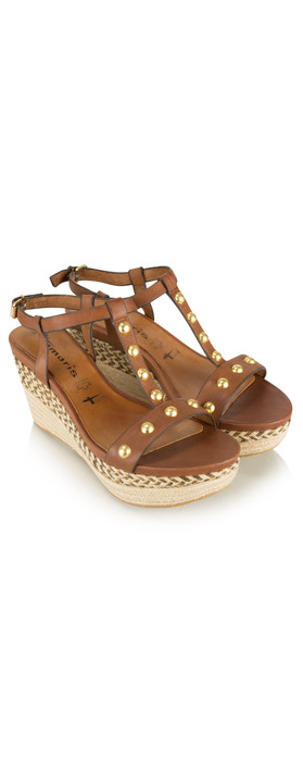 Tamaris  Leather High Wedge Sandal with Studs Cognac