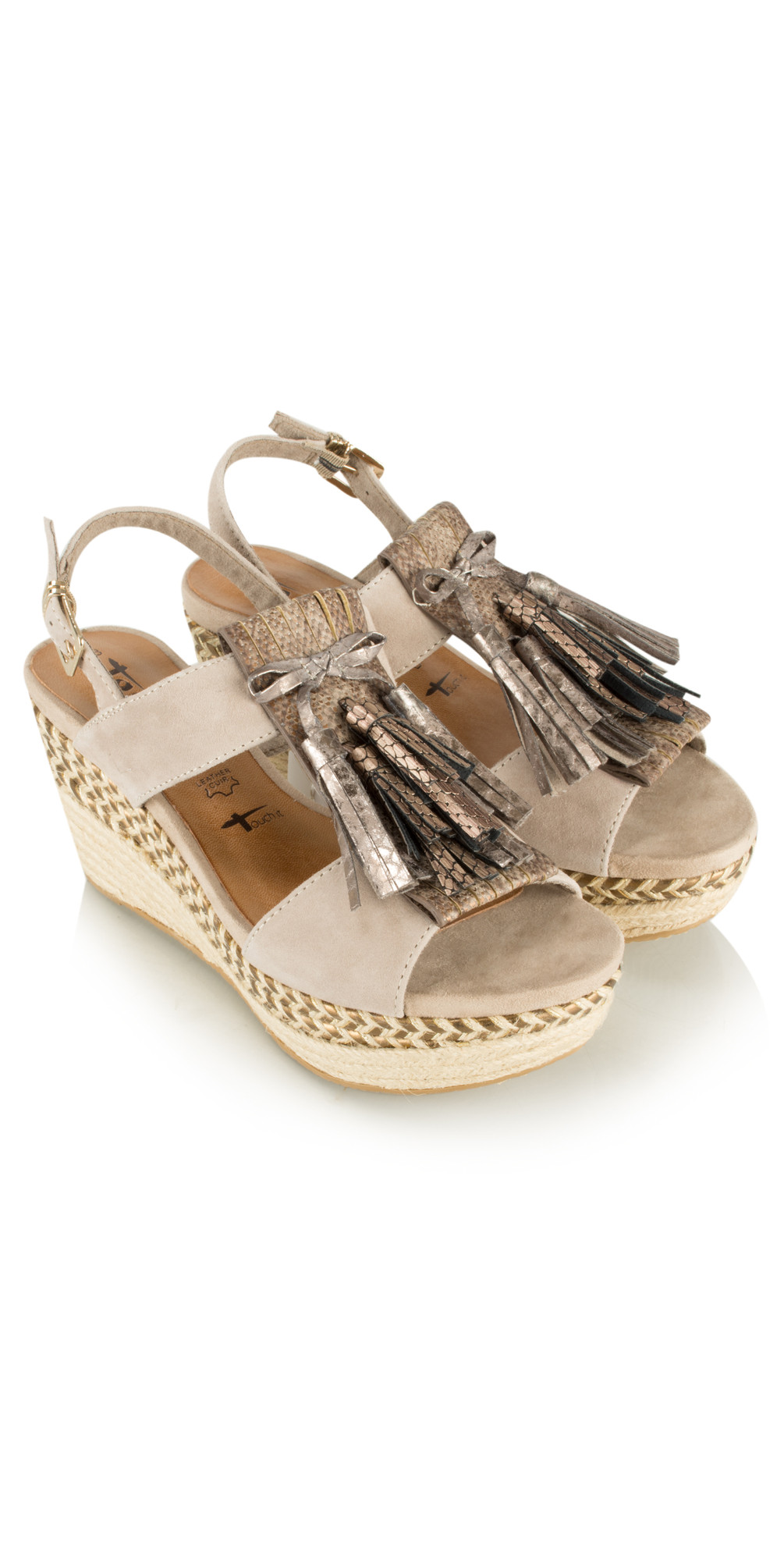 Leather Combi High Wedge with Fringe main image