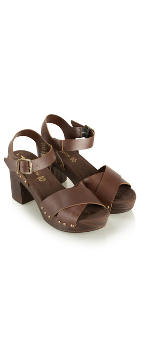 Tamaris  Leather Clog Sandal Mocca