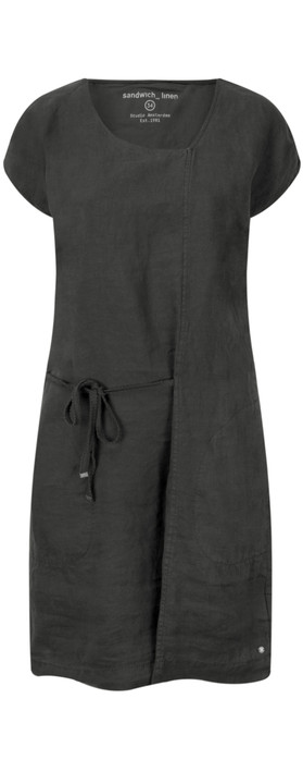 Sandwich Clothing Linen Tie Detail Dress Almost Black