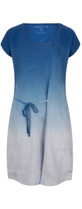 Sandwich Clothing Linen Dip Dyed Dress Deep Blue