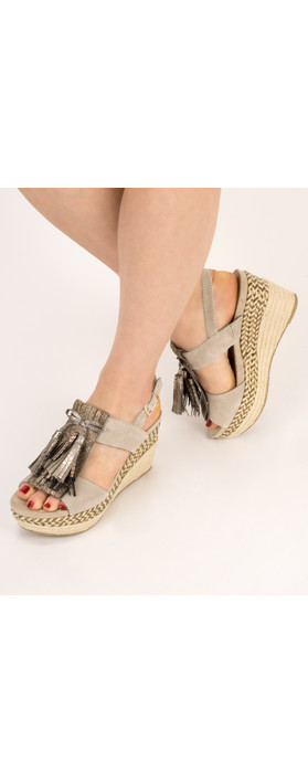 Tamaris  Leather Combi High Wedge with Fringe Antelope