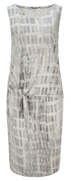 Sandwich Clothing Texture Print Dress with Tie Detail Steel