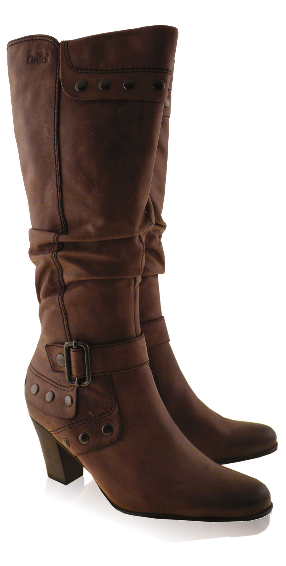 caprice footwear studded knee high boot in taupe