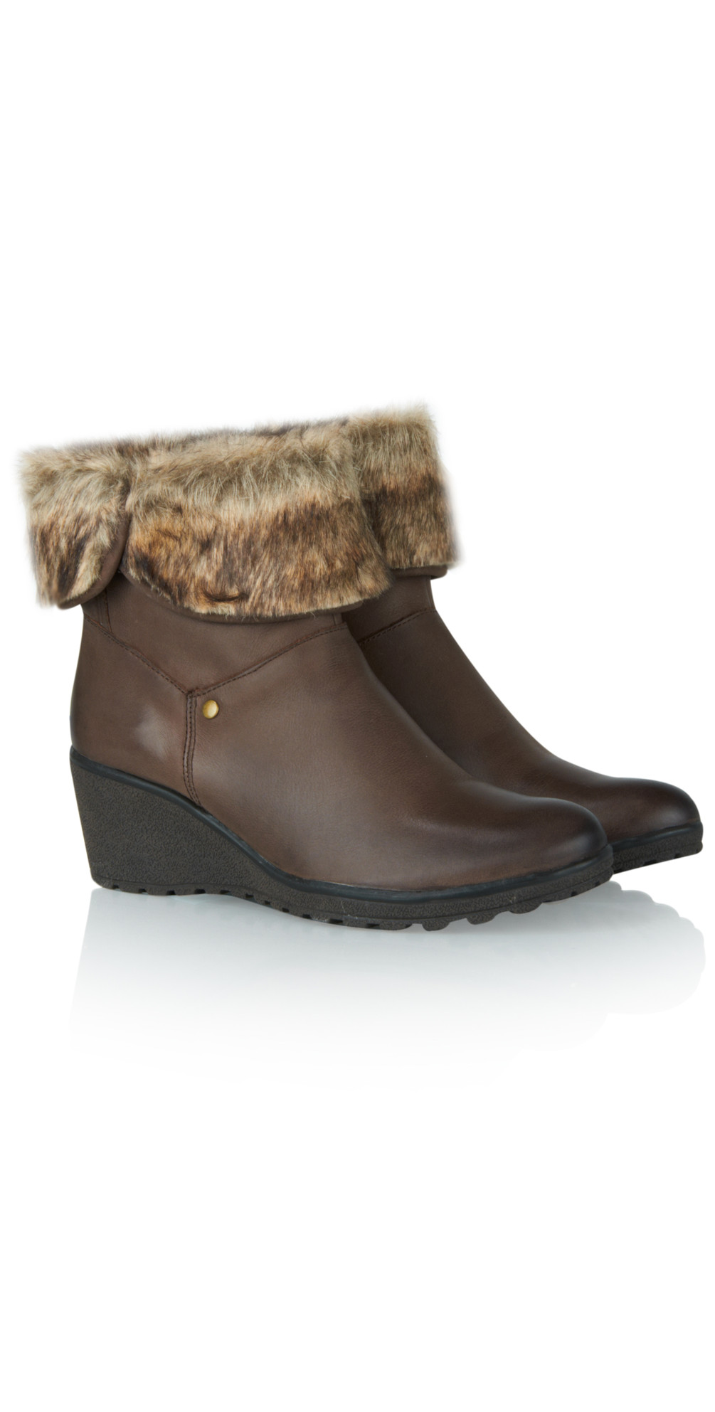 caprice footwear ankle fur leather wedge boot in brown