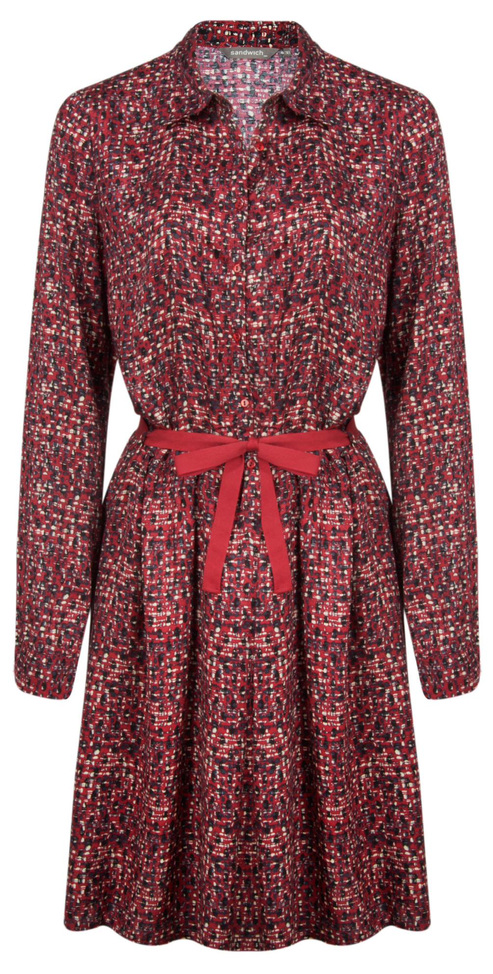 Long Sleeve Small Square Print Dress main image
