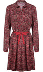 Sandwich Clothing Scarlet Red Long Sleeve Small Square Print Dress
