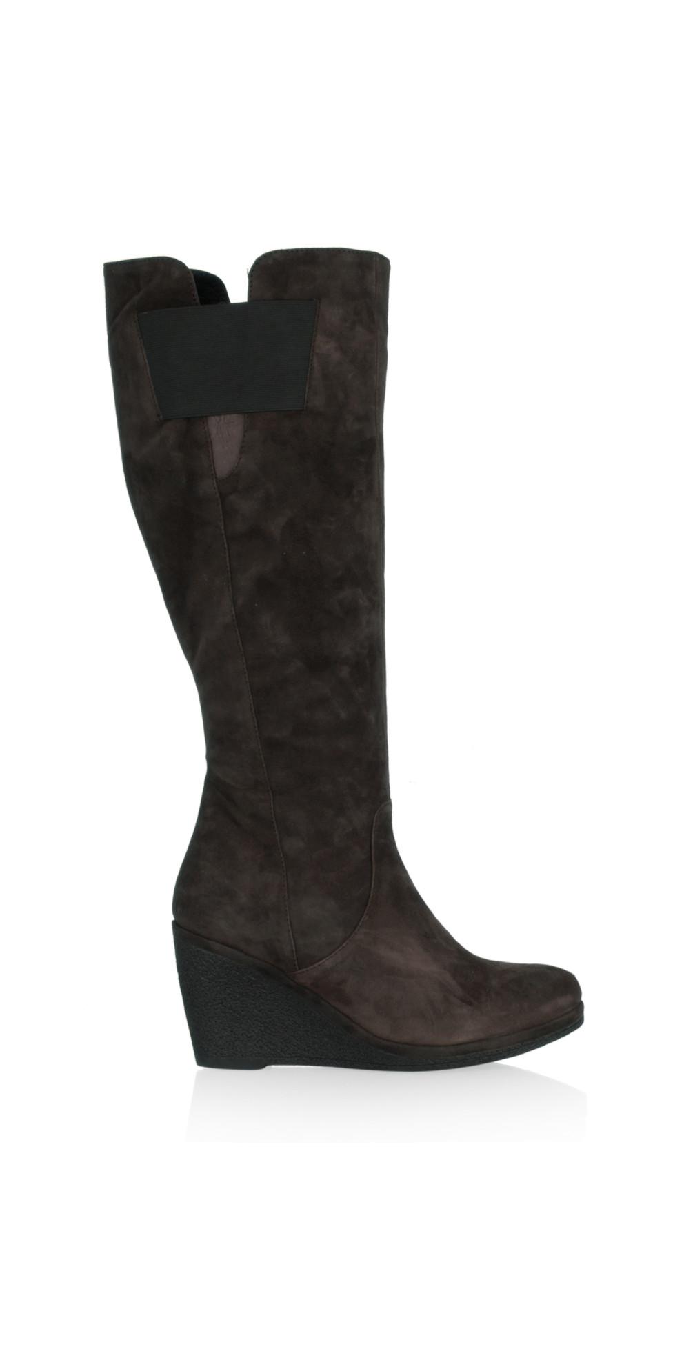 vanilla moon shoes luz wedge boot in dkbrown suede