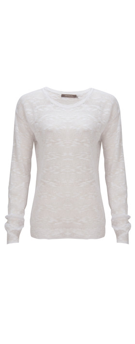 Sandwich Clothing Stripe linen Pullover White