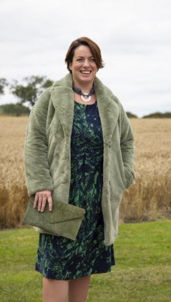 Joela Faux Fur Coat- Mistletoe