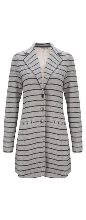 Sandwich Clothing Long Striped Blazer Grey Heather