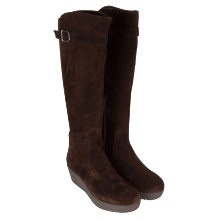 Unisa Shoes Long Fraga Wedge Boot - Brown