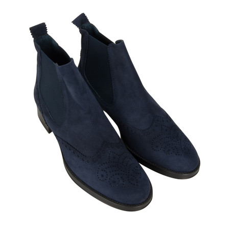 HB Shoes Libby Brogue Suede Chelsea Boot - Blue