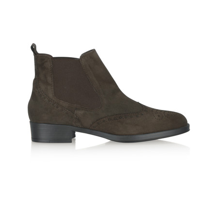 HB Shoes Libby Brogue Suede Chelsea Boot - Brown