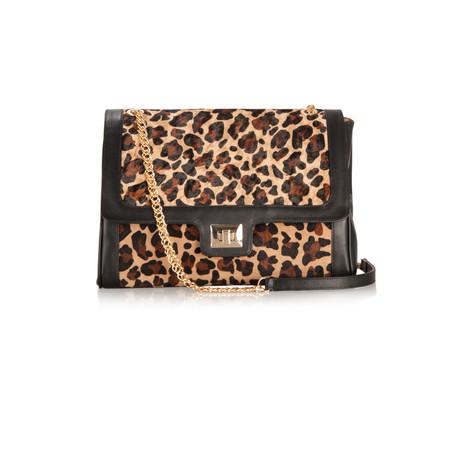 Sachelle Leopard Print Leather Bag - Black
