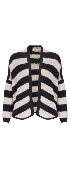 Sandwich Clothing Cotton Chenille Striped Cardigan Dark Sky
