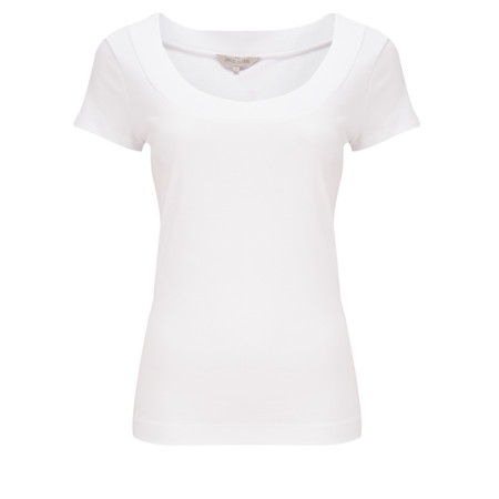 Great Plains Scoop Neck Cotton Lycra T-Shirt - White