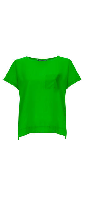 French Connection NEW - Polly Plains Pocket Top  Astro Green