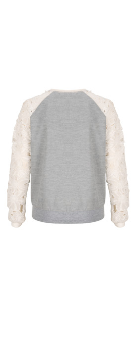Coster Copenhagen NEW - Lace Sleeved Sweatshirt Light Grey Mel