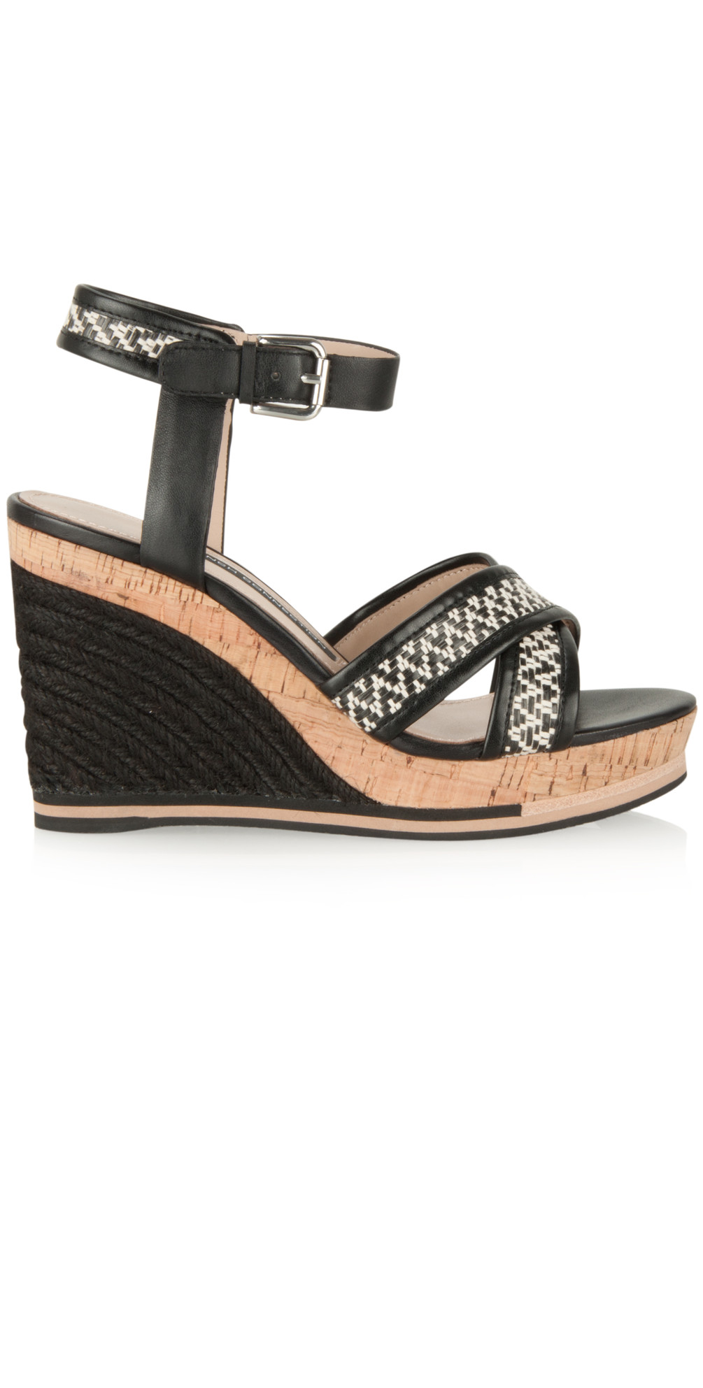 639053459448 French Connection Shoes NEW - Lata Wedge in Black White