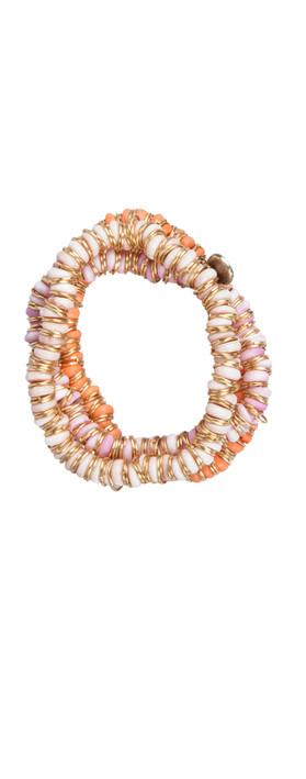 Sandwich Clothing Bone Beads Metal Ring Bracelet Soft Lilac