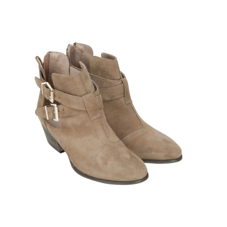 KMB Suede Ankle Boot With Buckle Detail - Grey