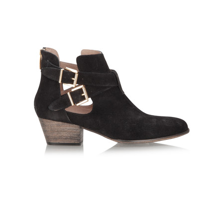 KMB Suede Ankle Boot With Buckle Detail - Black