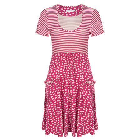 Myrine Maison Jersey Stripe And Spot Dress - Pink