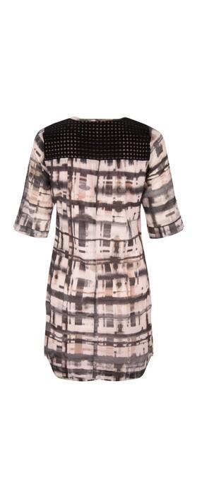 Sandwich Clothing Distorted Check Print Dress Potpourri