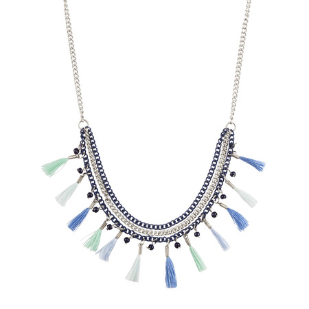 Sandwich Clothing Tasselled Necklace - Blue