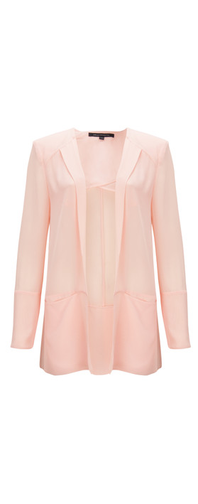 French Connection Shimmer Spell Semi-Sheer Edge to Edge Floaty Jacket Anemone