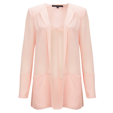 French Connection Shimmer Spell Semi-Sheer Edge to Edge Floaty Jacket - Pink