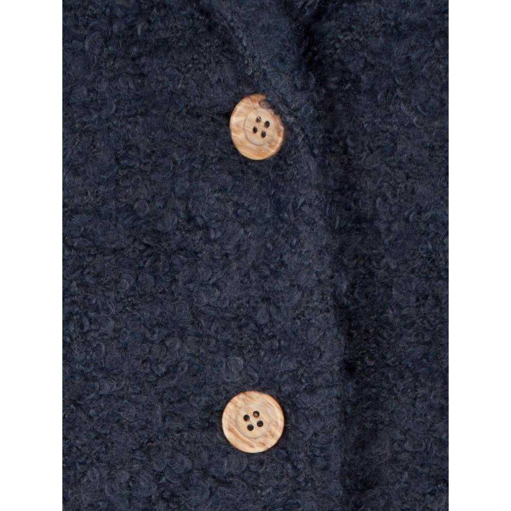 Sandwich Clothing Boucle Long Cardigan Coat Dark Sapphire
