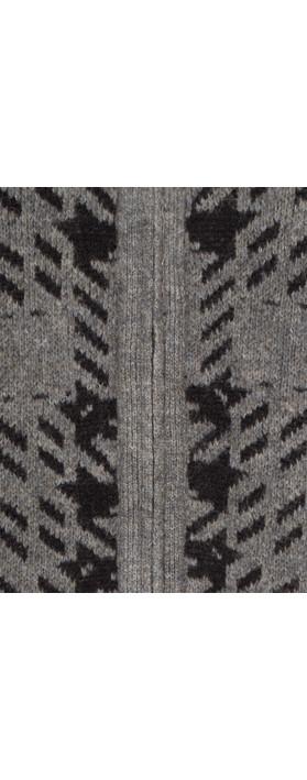 Sandwich Clothing Soft Wool Jacquard Cardigan Warm Grey