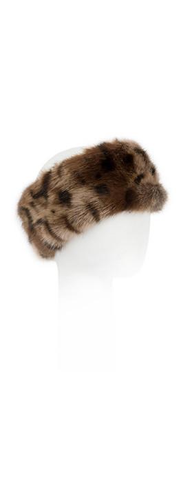 Pia Rossini Monroe Faux Fur Headband Ocelot