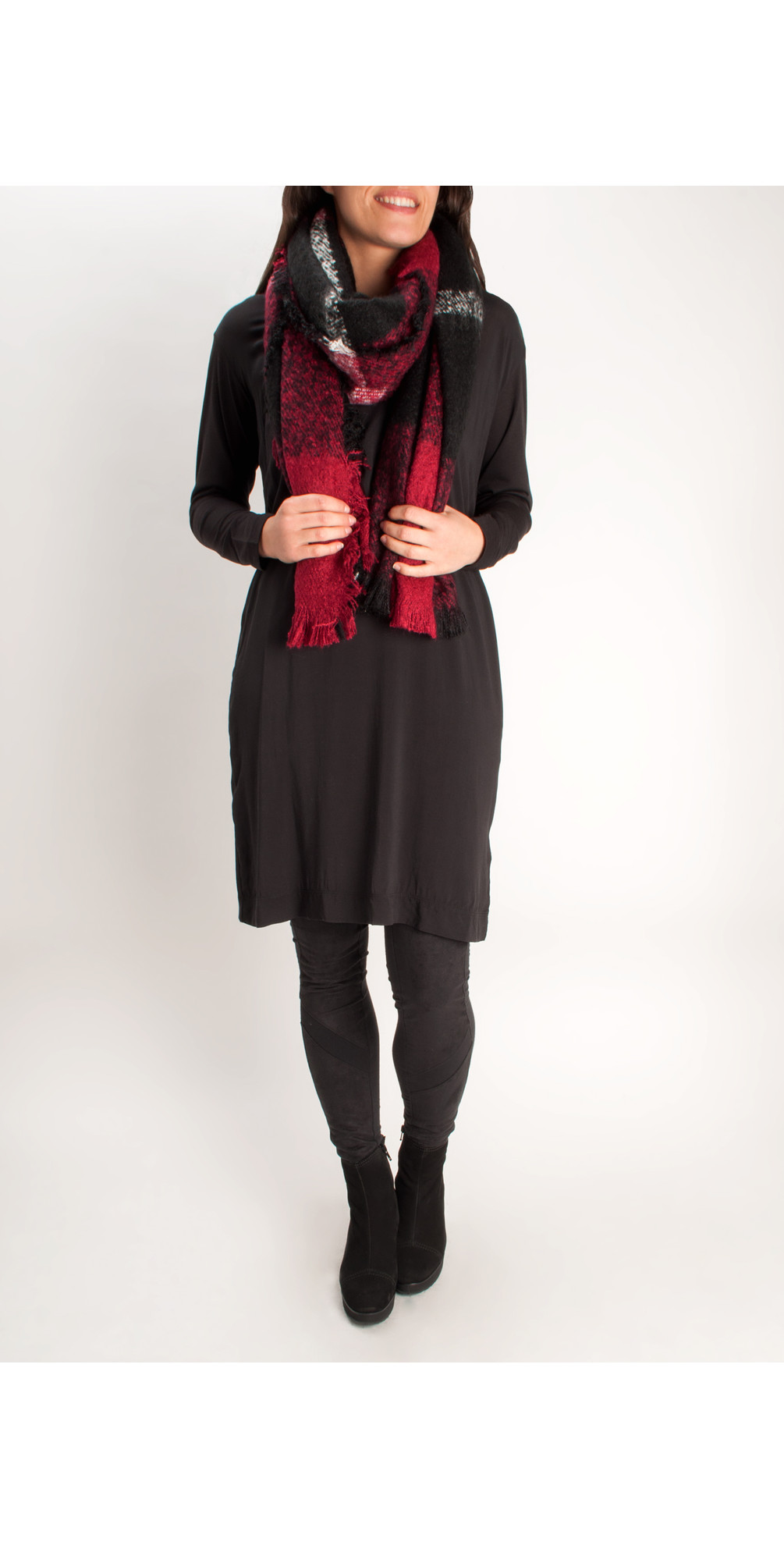 Checked Tassel Scarf main image