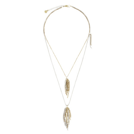Sandwich Clothing Chain Tassel Detail Necklace - Gold
