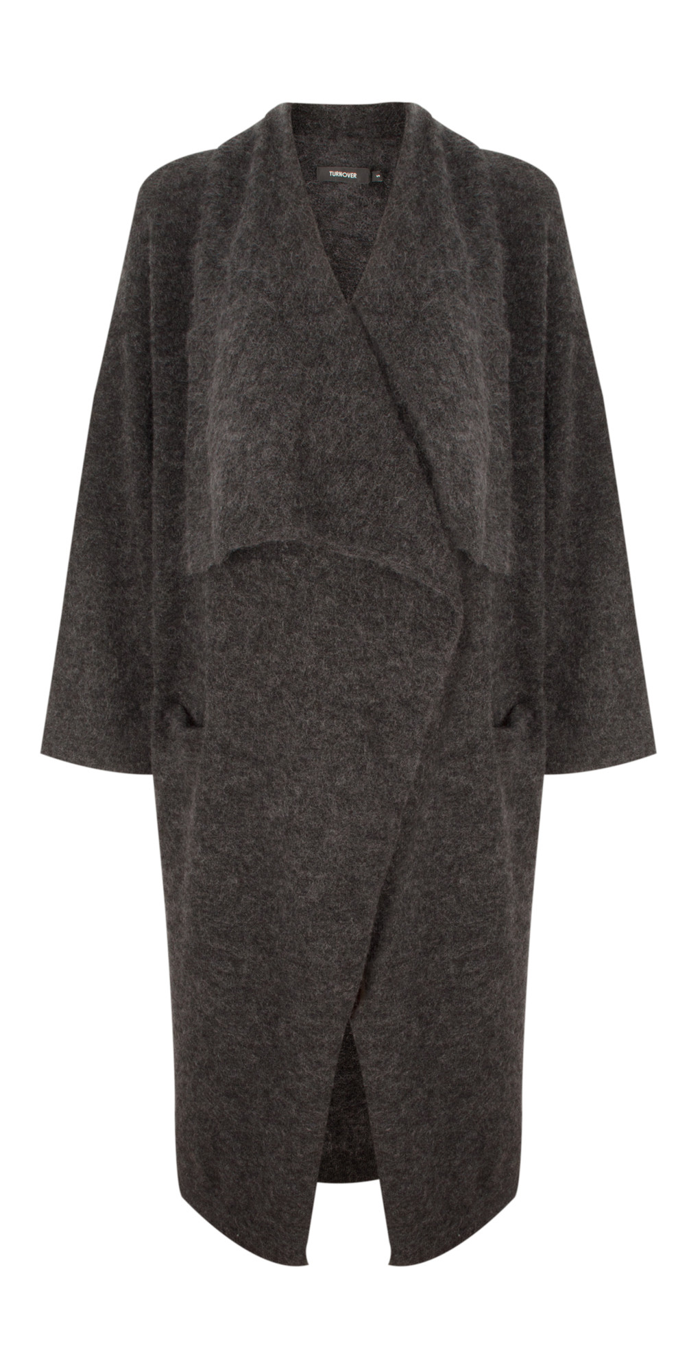 Turnover Oversized Waterfall Cardigan in Anthracite